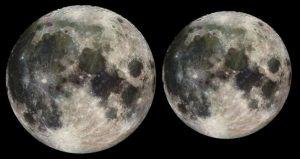 Links, de maan in perigeum en rechts in apogeum. (foto:NASA)